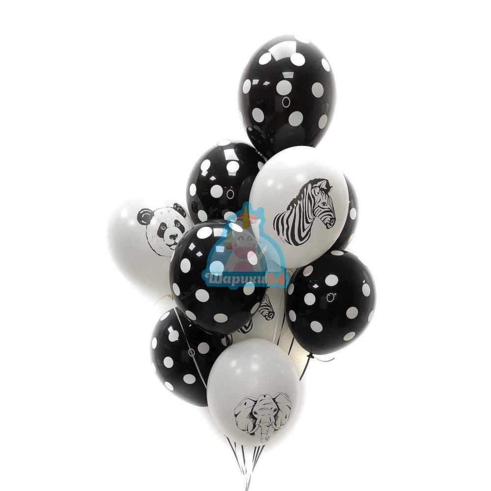 Гелиевые шары черные в точку и белые с животными