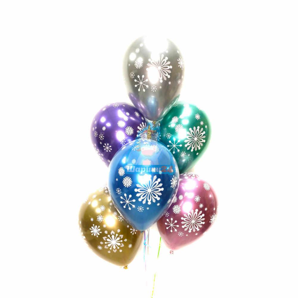 Гелиевые шары разноцветные хромированные снежинки