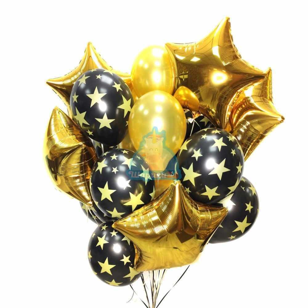 Композиция с золотыми звездами, золотыми черными шарами со звездами