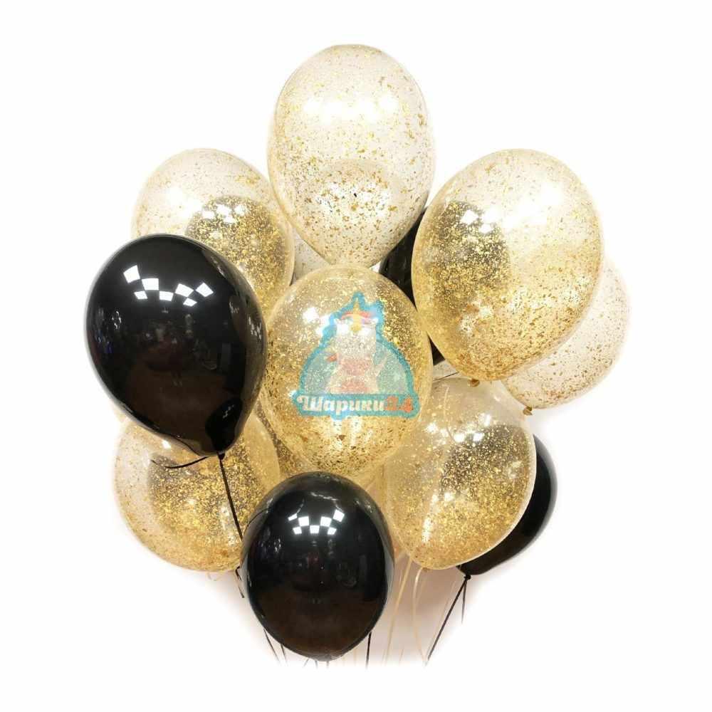Воздушные шарики черные и прозрачные с золотым блестками
