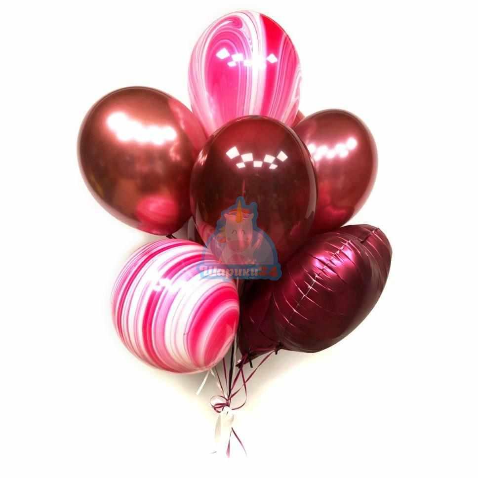 Композиция из красных шаров с розовыми агатами на 8 марта