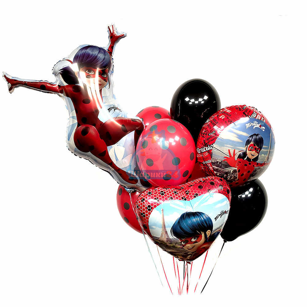 Композиция из черных и красных шаров в точку Леди Баг