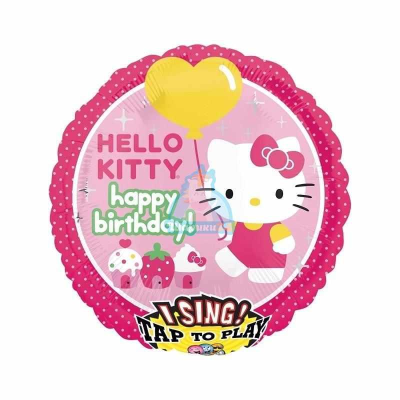 Поющий фольгированный шар Hello Kitty