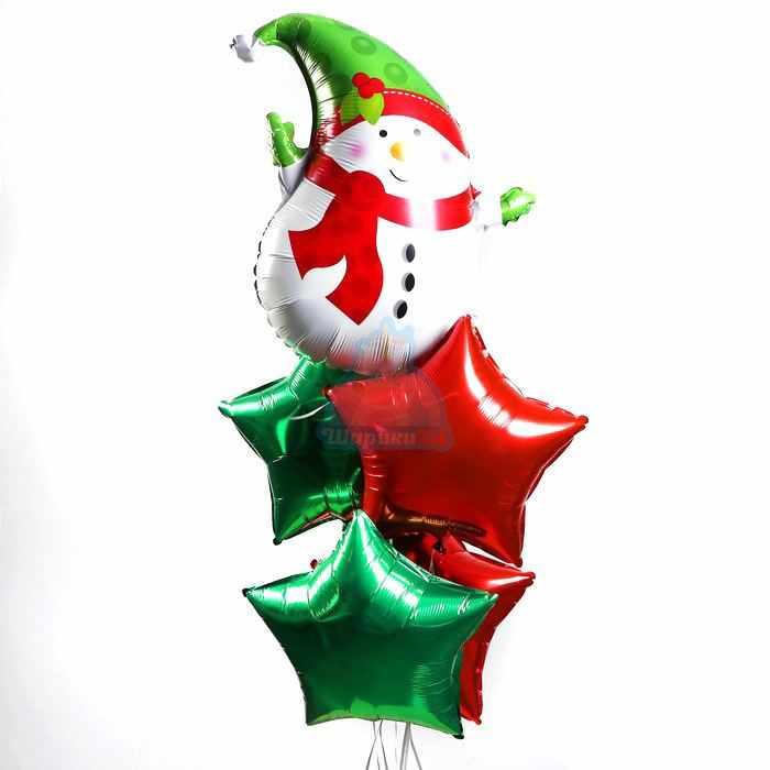 Композиция из фольгированных звезд со снеговиком