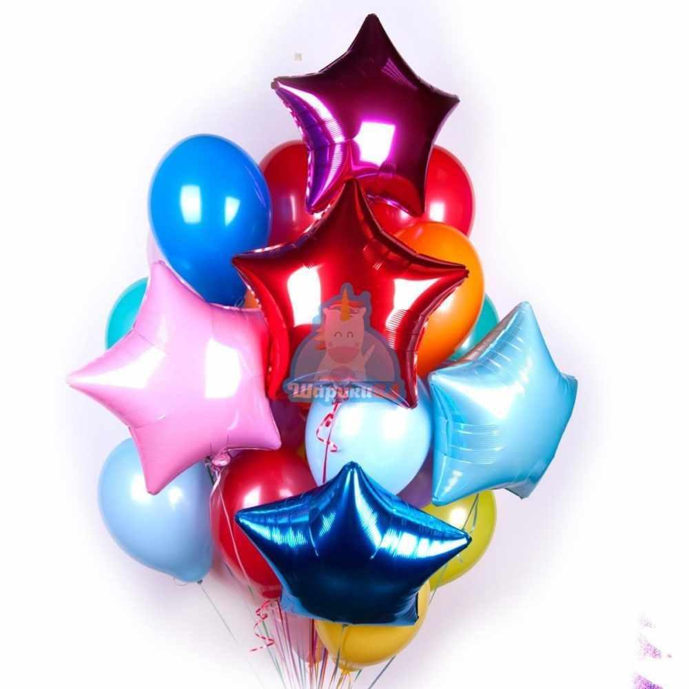 Композиция из воздушных разноцветных шариков со звездами