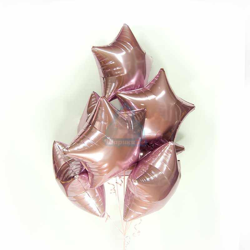 Фольгированные розовые звезды