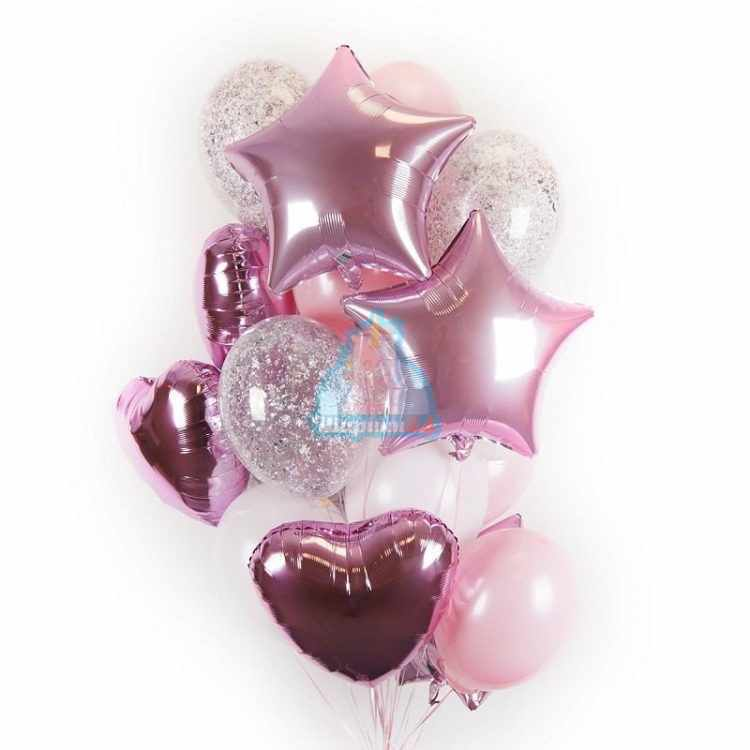 Композиция из воздушных шаров бело-розовых и прозрачных с серебряными блестками, сердцами и звездами на 8 марта