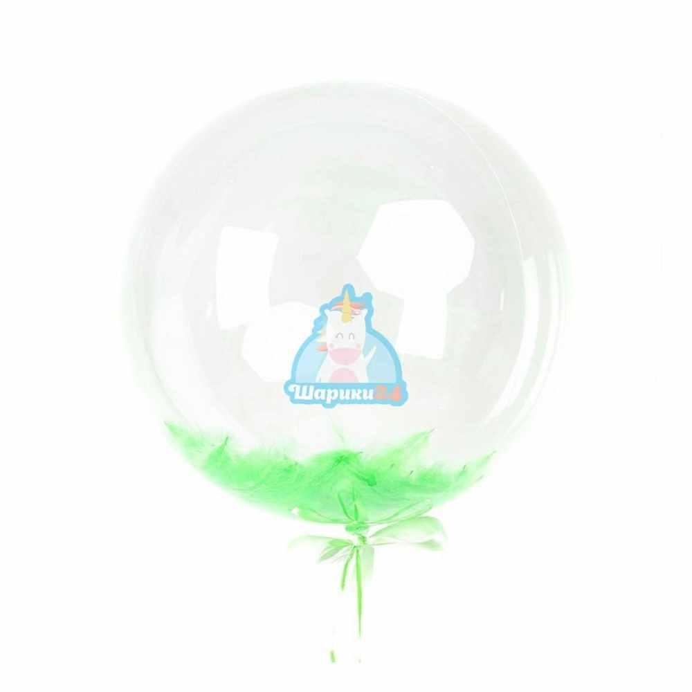 Кристальный шар Bubbles с салатовыми перьями