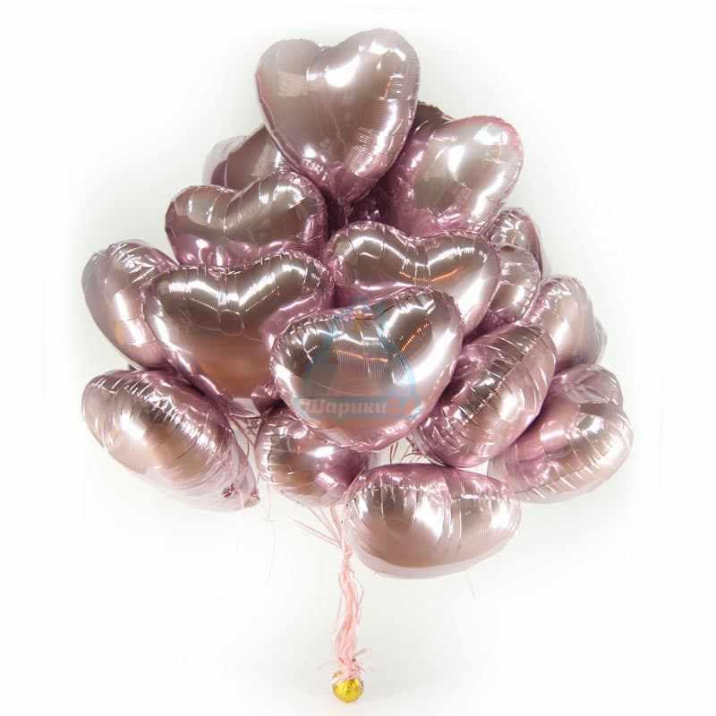 фольгированные розовые сердечки