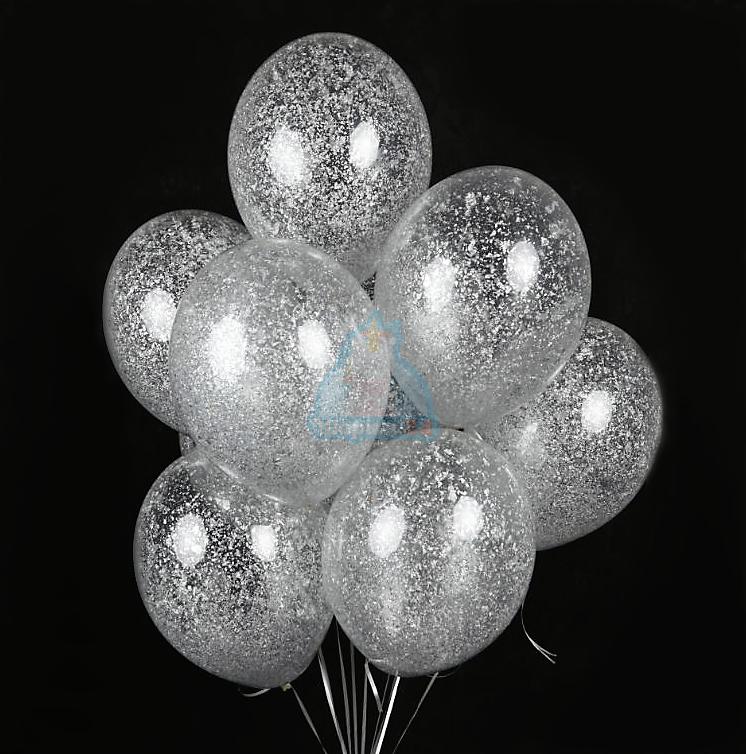 Гелиевые шары прозрачные с серебряными блестками
