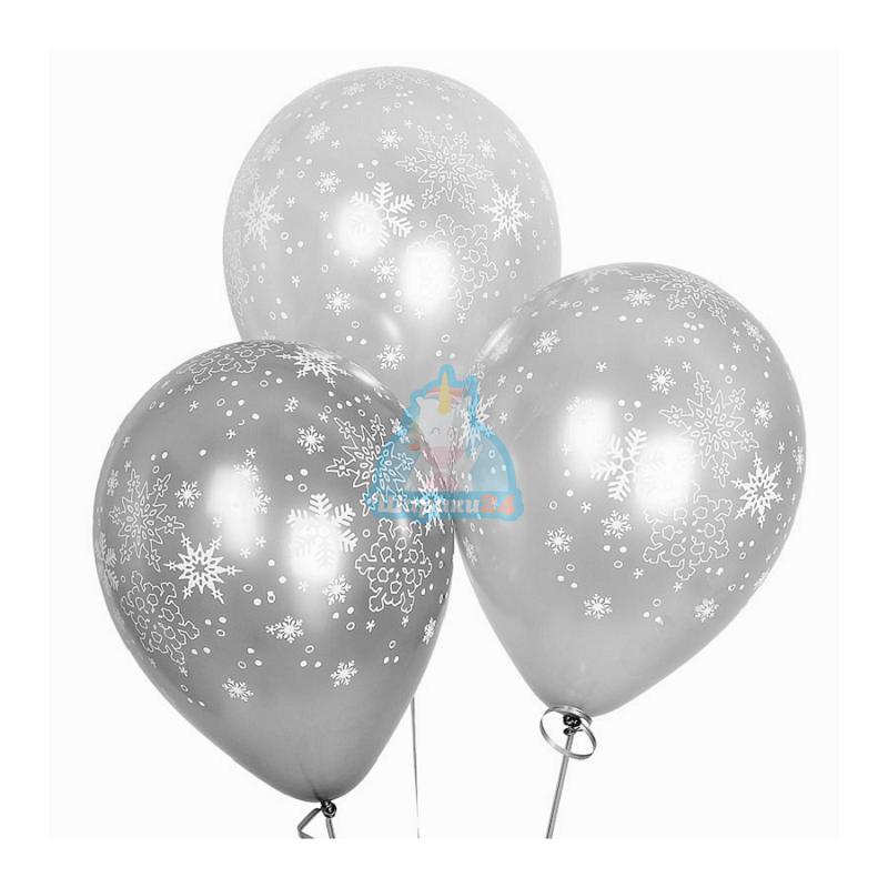 Гелиевые шары серебряные снежинки