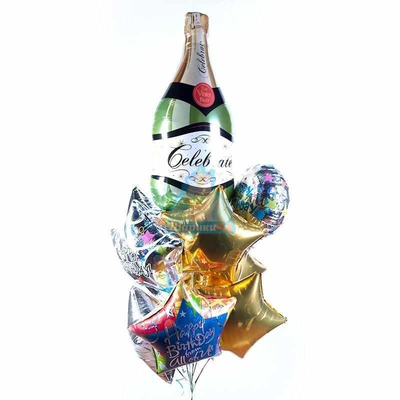 Композиция из воздушных шаров на День Рождения с шампанским и звездами