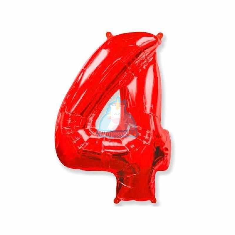 Фольгированная цифра 4 красная