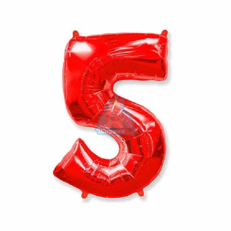 Фольгированная цифра 5 красная