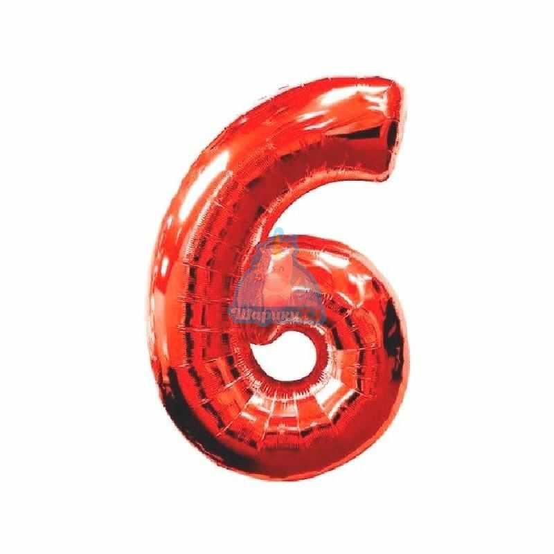 Фольгированная цифра 6 красная
