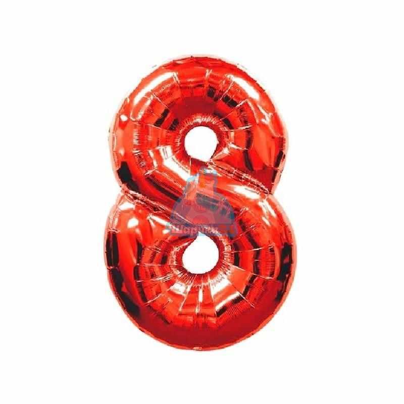 Фольгированная цифра 8 красная