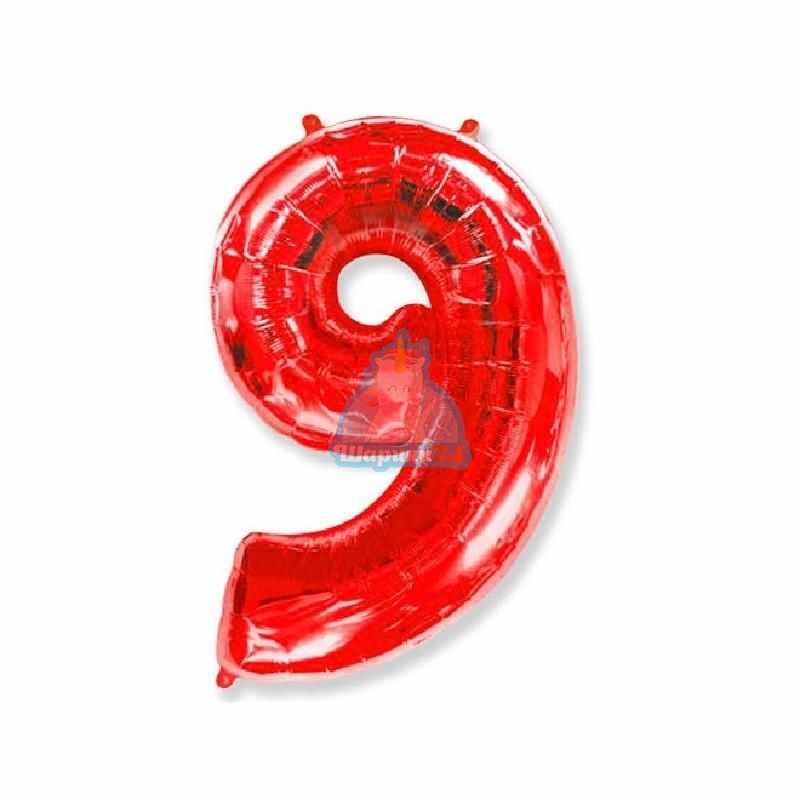 Фольгированная цифра 9 красная
