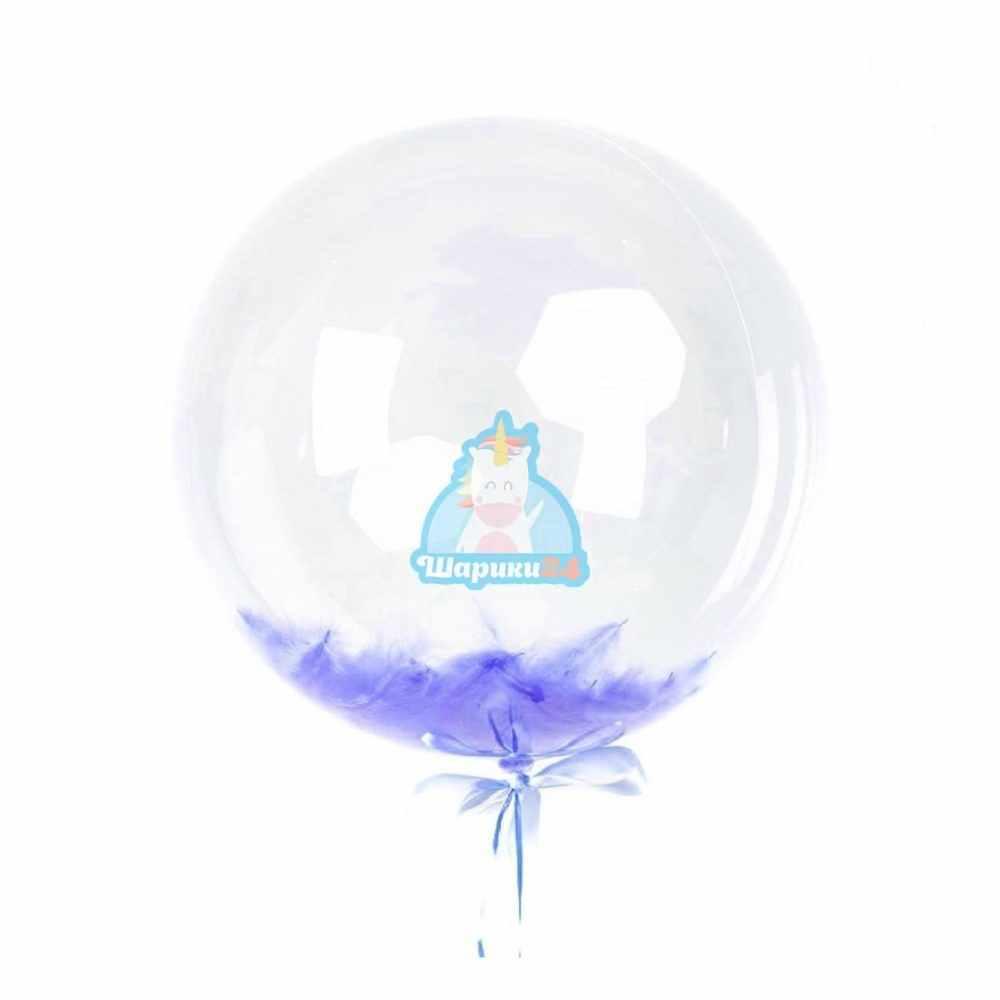 Кристальный шар Bubbles с синими перьями