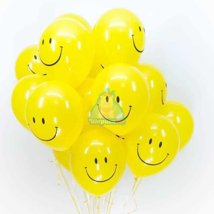 Облако желтых шариков смайликов на 8 марта