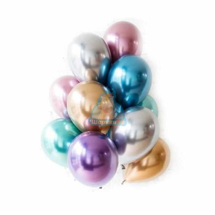 Разноцветные хромированные шарики 100 шт.