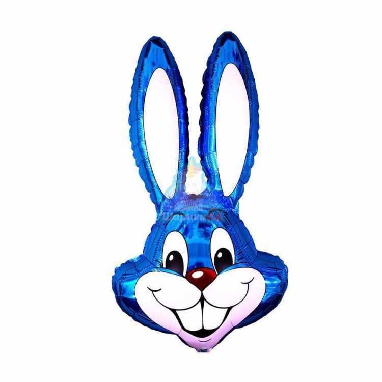 Фольгированная фигура голова зайца голубая