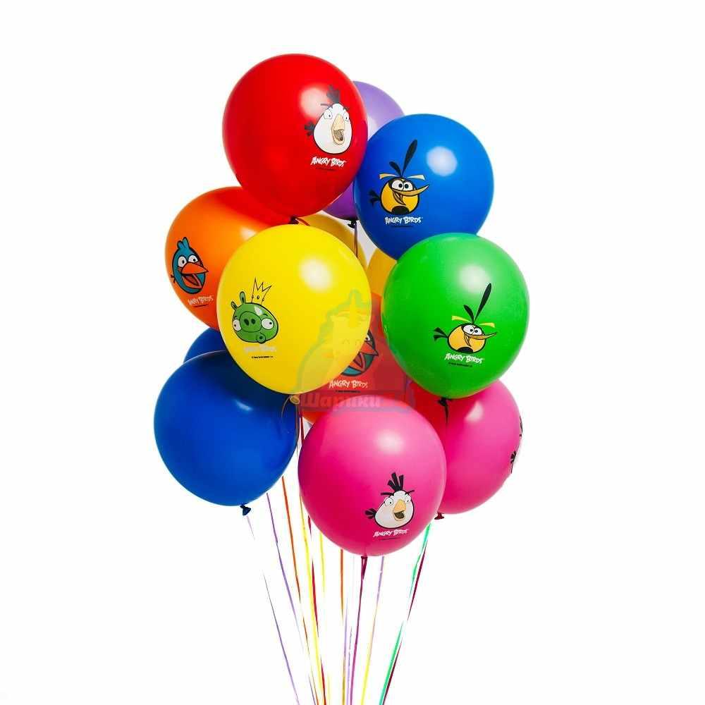 Гелиевые шары разноцветные с Angry Birds
