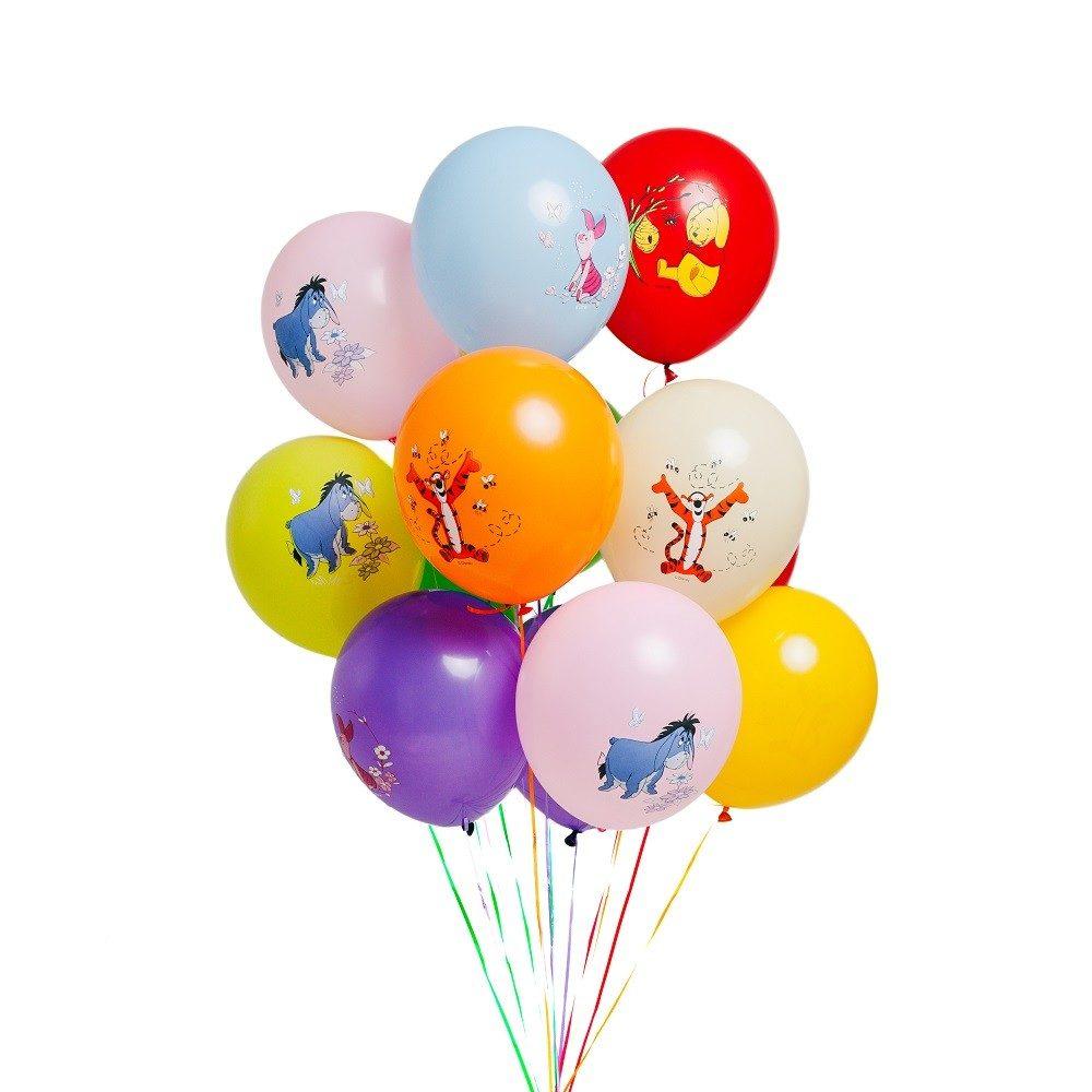 Гелиевые шары разноцветные с Винни пухом