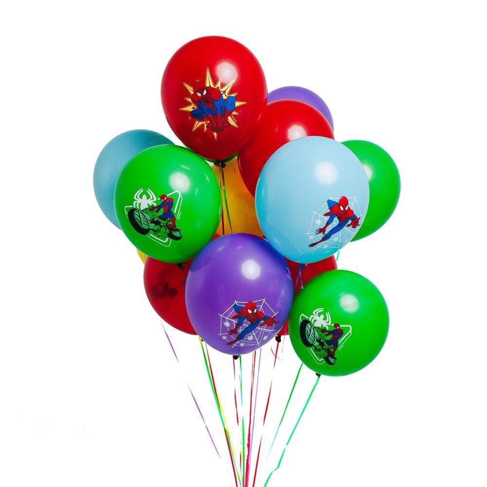 Гелиевые шары разноцветные с Человеком Пауком