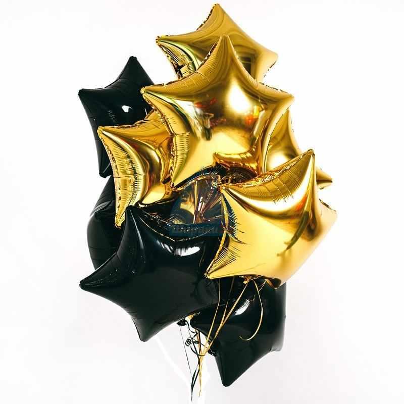 Гелиевые шары черные и золотые звезды
