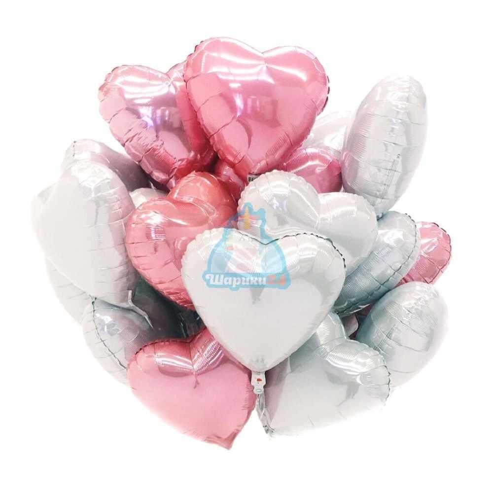 Композиция из белых и розовых сердец на день влюбленных!