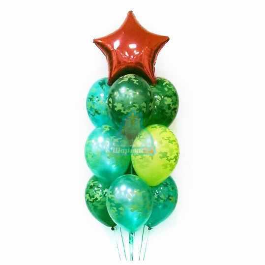 Фонтан из камуфляжных шаров с красной звездой