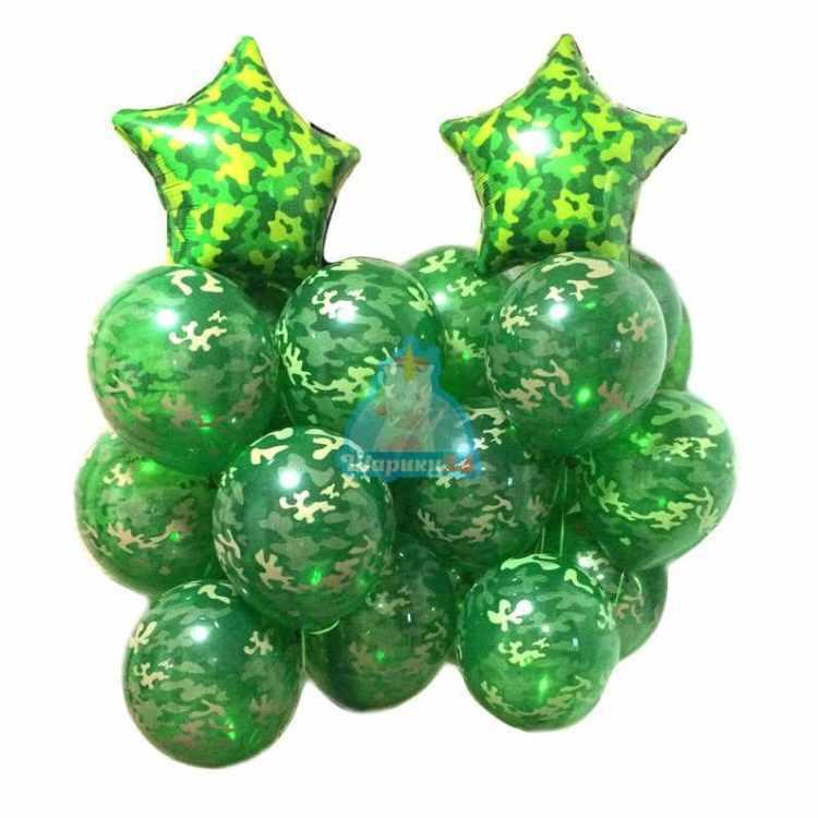 Композиция из камуфляжных шаров со звездами хаки