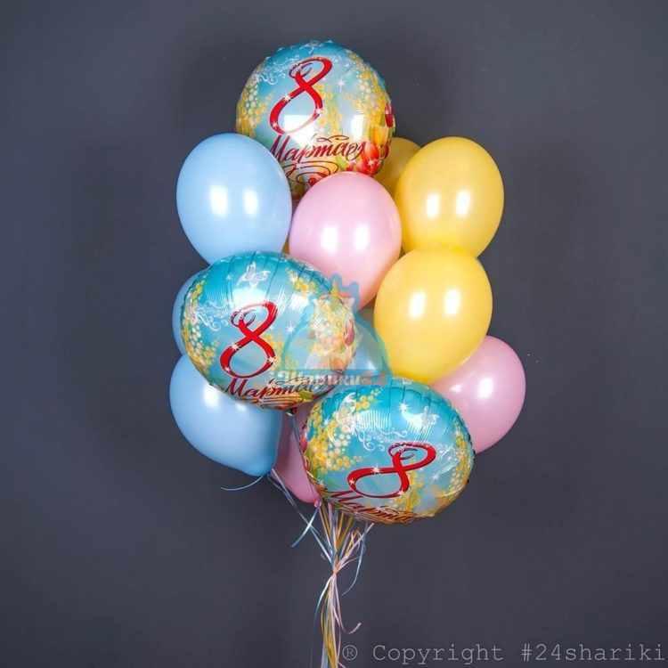 Композиция розовых, желтых и голубых шаров на 8 марта!