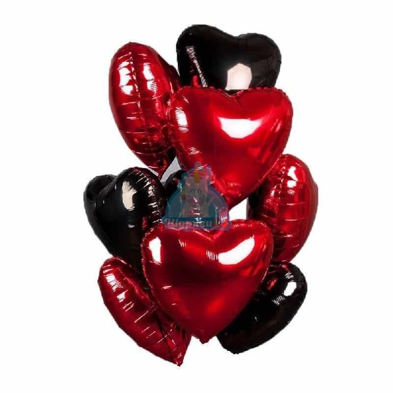 Шары на 14 февраля - Красные и черные сердца