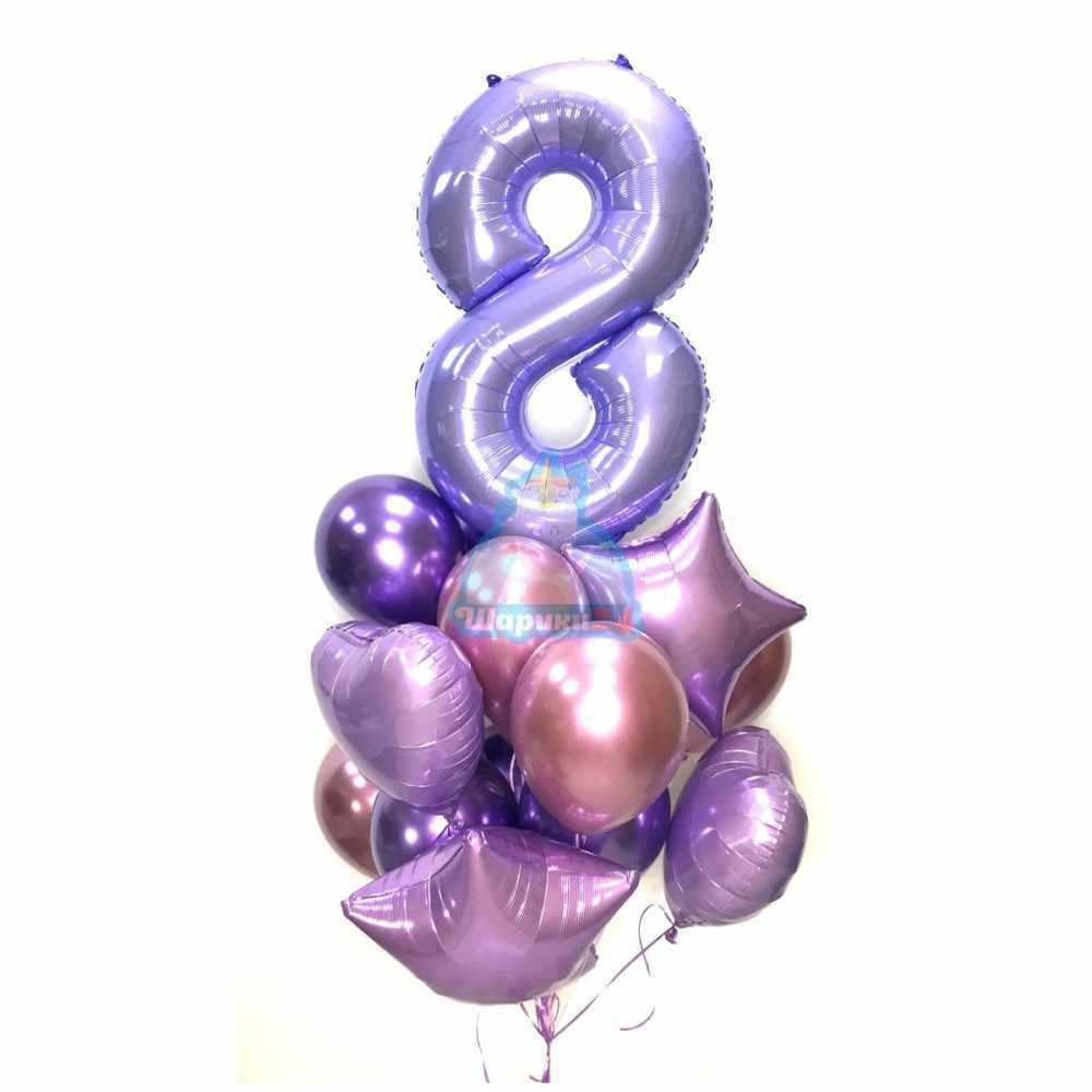 Композиция из шаров на 8 марта с сиреневой цифрой сердцами и звездами