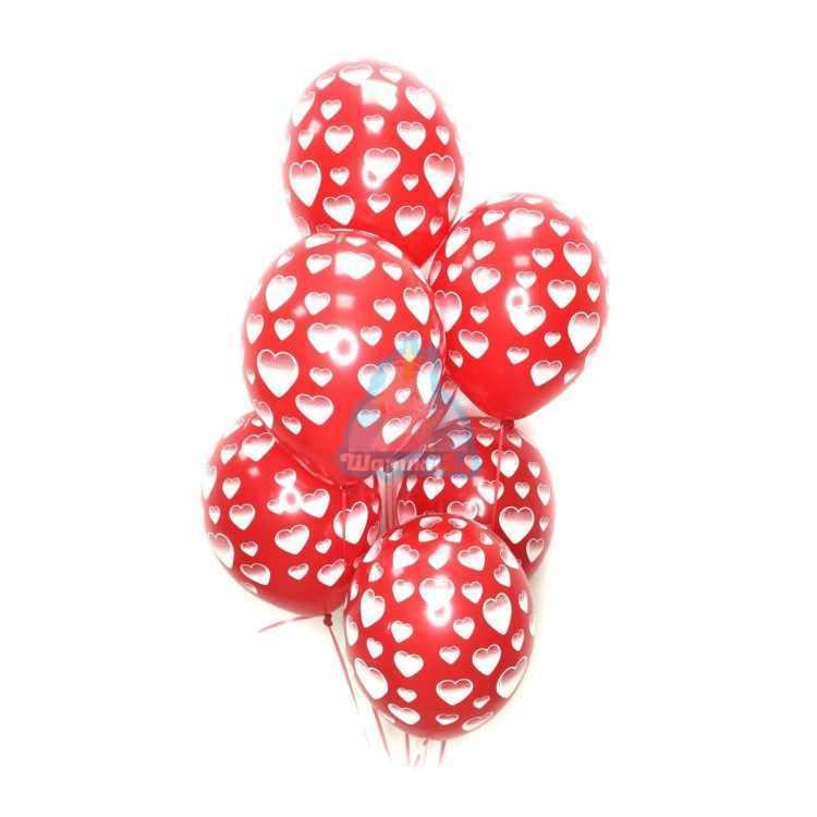 Красные шарики с сердцами