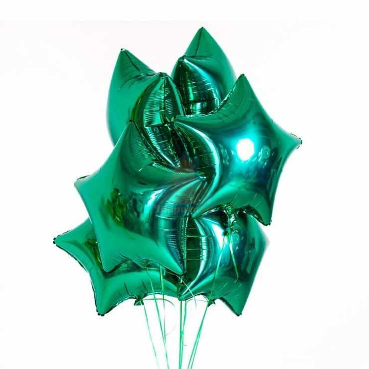 Фольгированные зеленые звезды