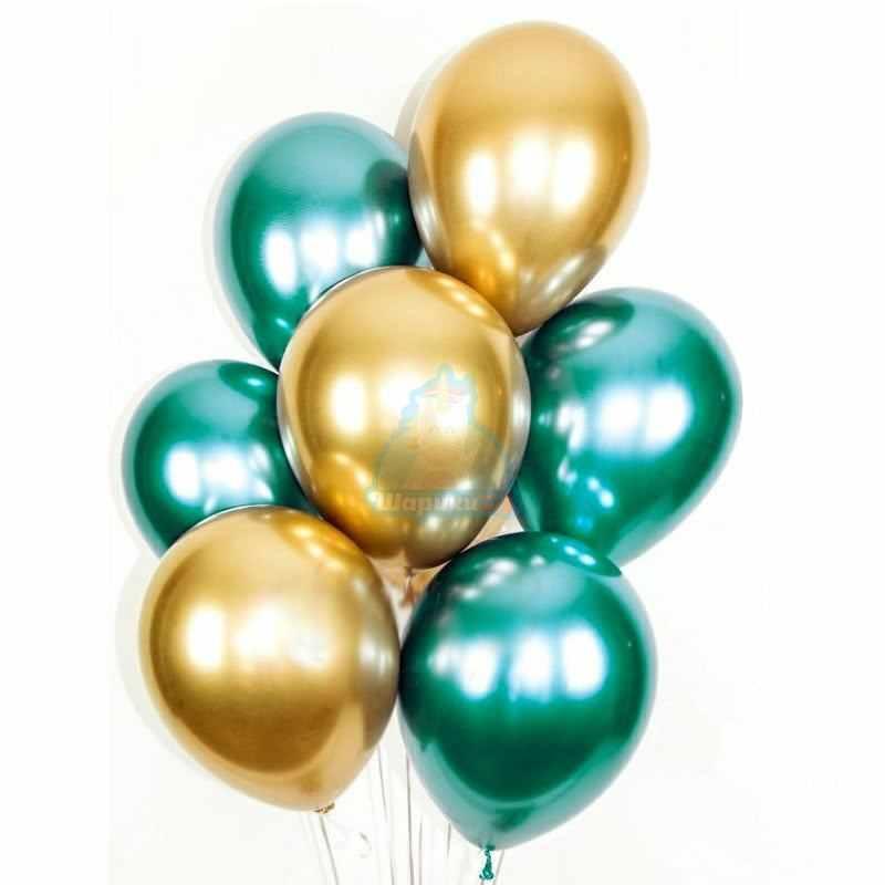 Облако зеленых и золотых хромированных шаров на День Защитника Отечества!