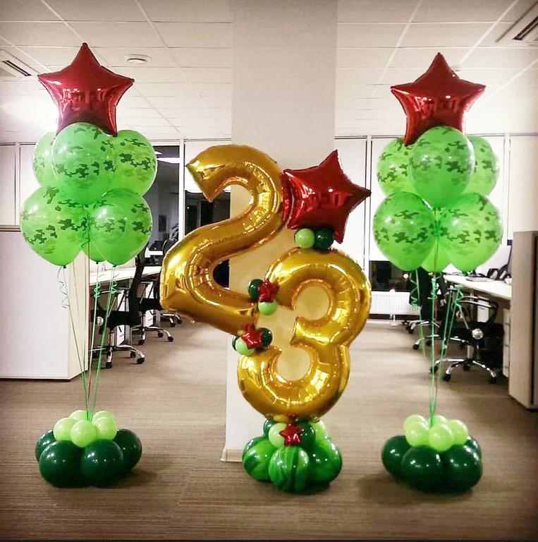 Оформление воздушными шарами на 23 февраля