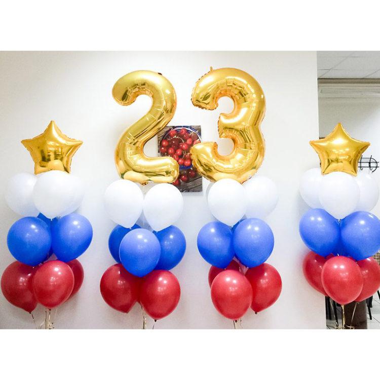 Оформление гелиевыми шарами на 23 февраля триколор с цифрами
