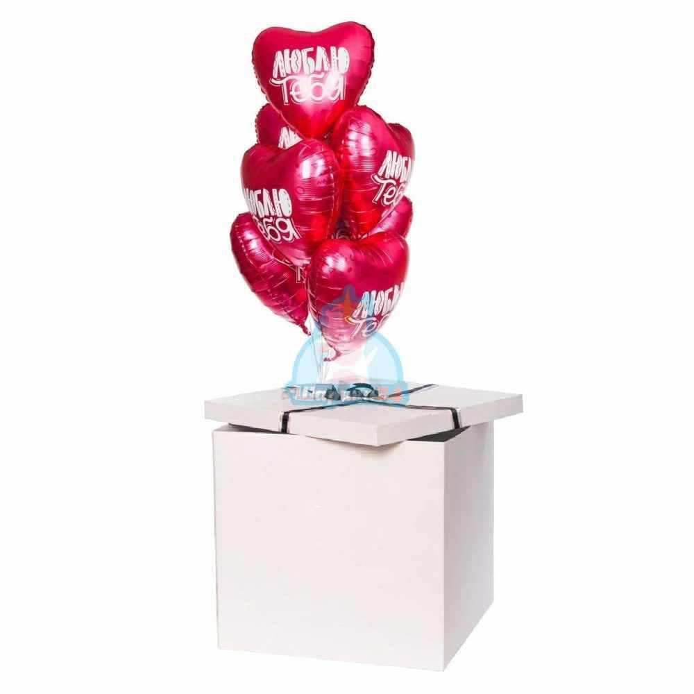 Сатиновые сердца ЛЮБЛЮ ТЕБЯ! в коробке на 14 февраля!