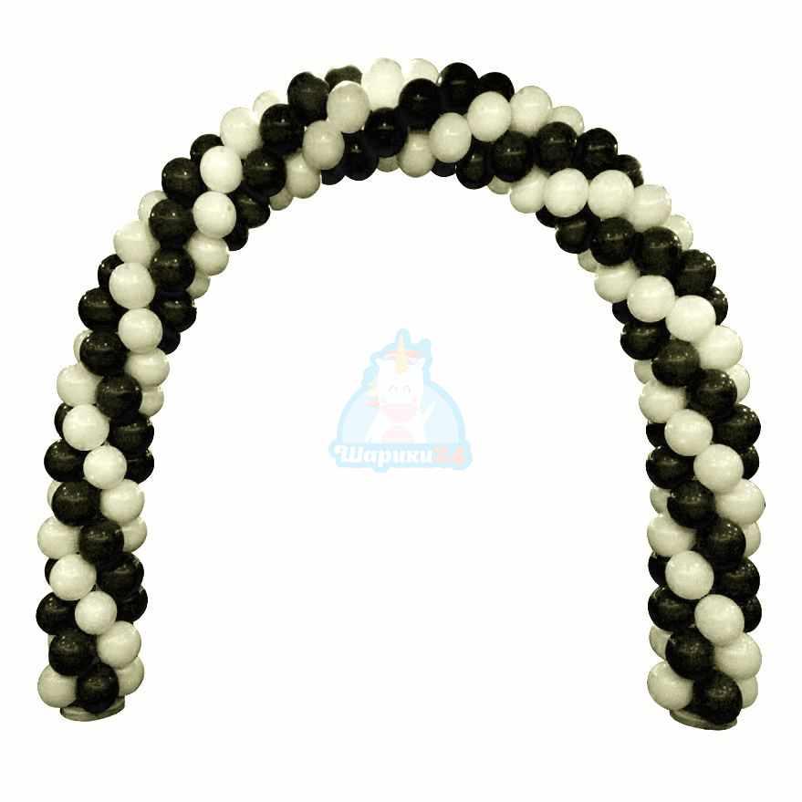 Арка из шаров черно белая 1 м