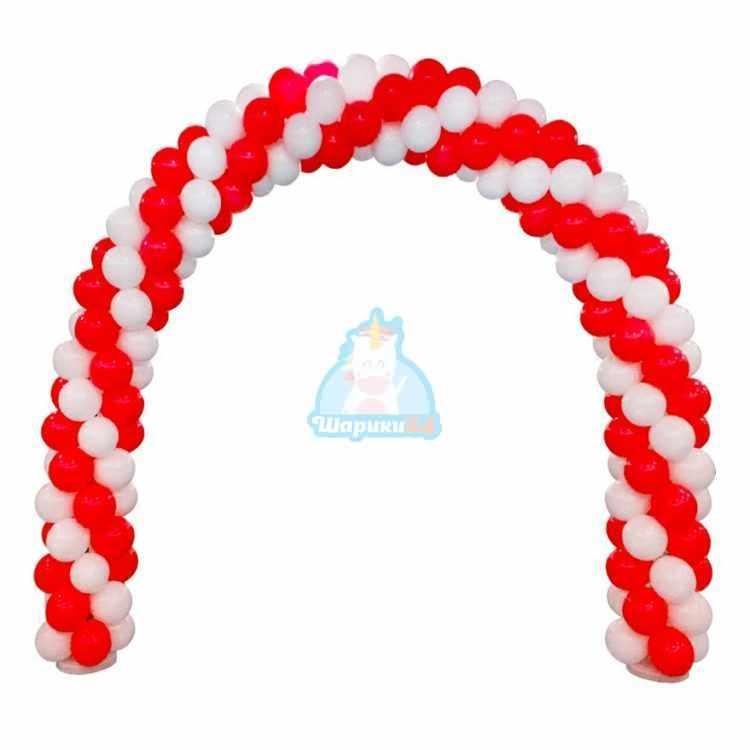 Арка из белых и красных шаров 1 м