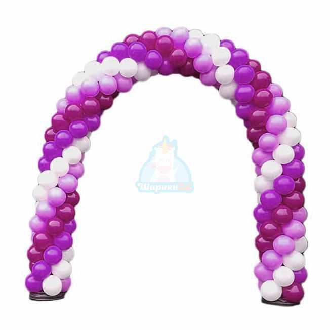 Арка из белых фиолетовых и фуксия шаров 1 м