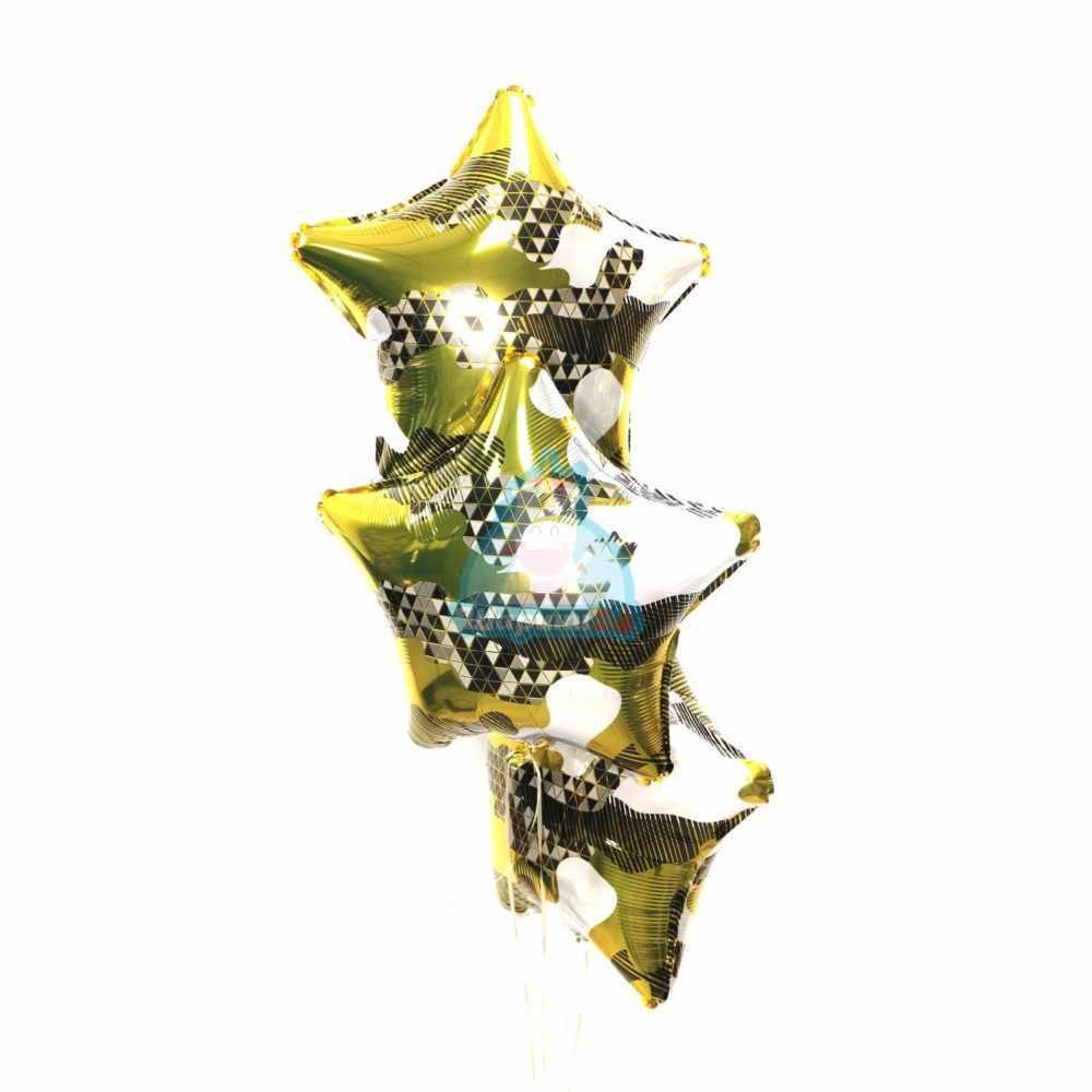 Фольгированные звезды золотой хаки