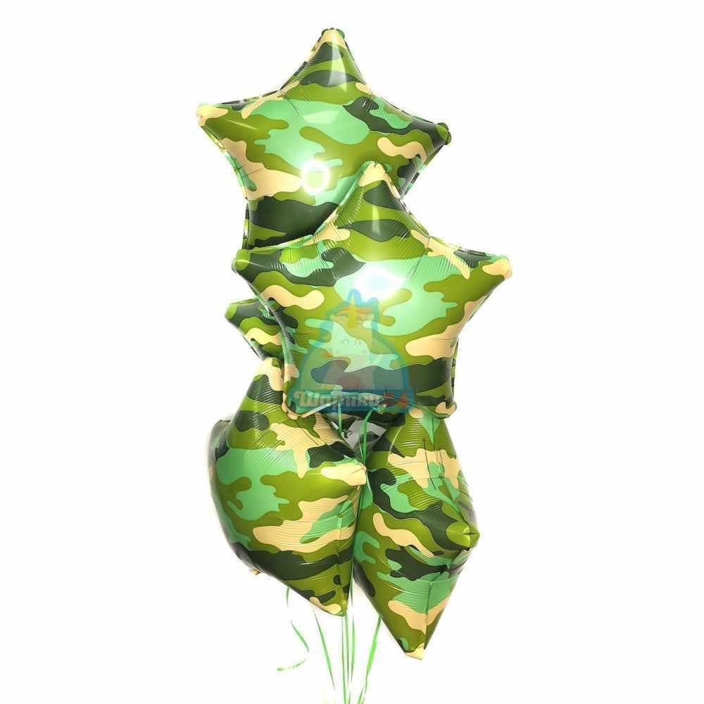 Фольгированные звезды зеленый хаки на 23 февраля