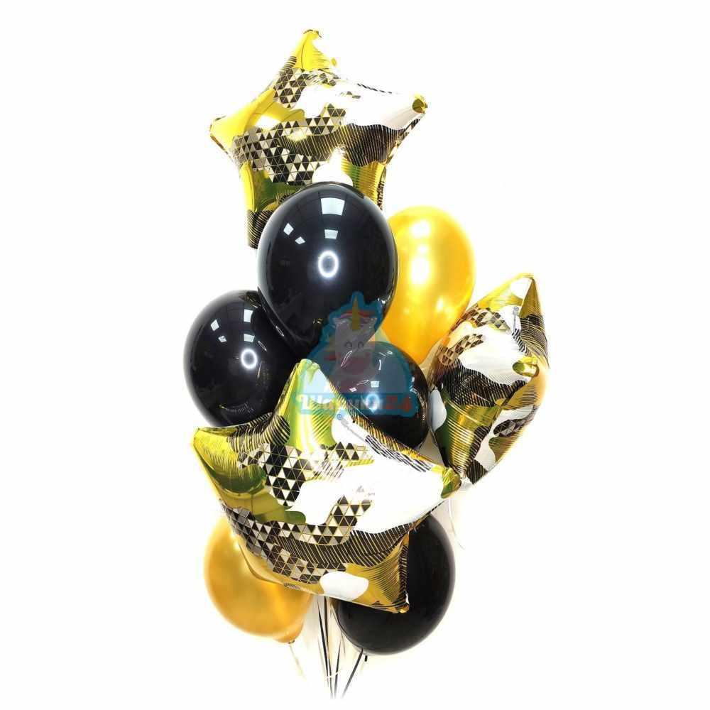 Черные и золотые шары со звездами на 23 февраля
