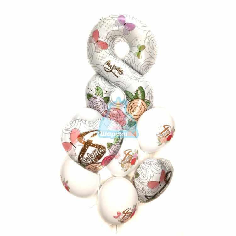 Композиция из белых шаров на 8 марта с цифрой и сердцами