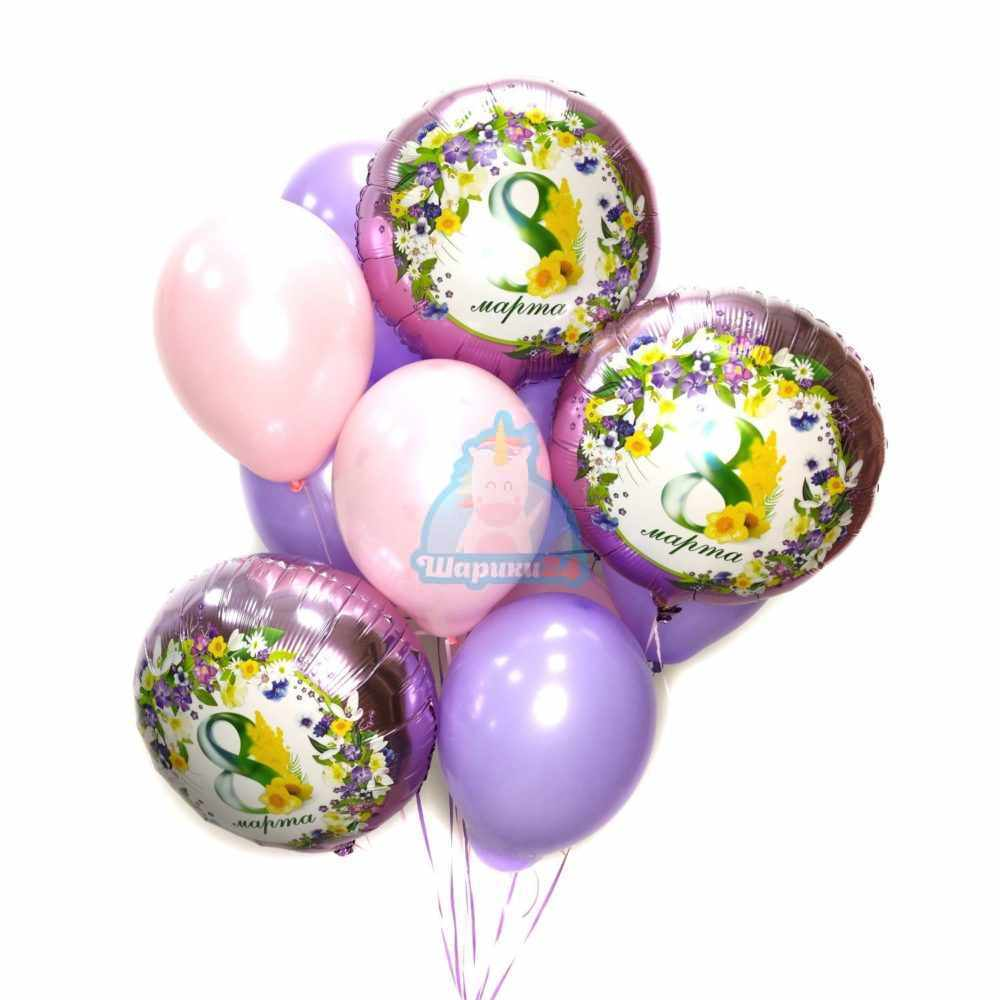 Композиция из шаров розовых и фиолетовых с кругами на 8 марта