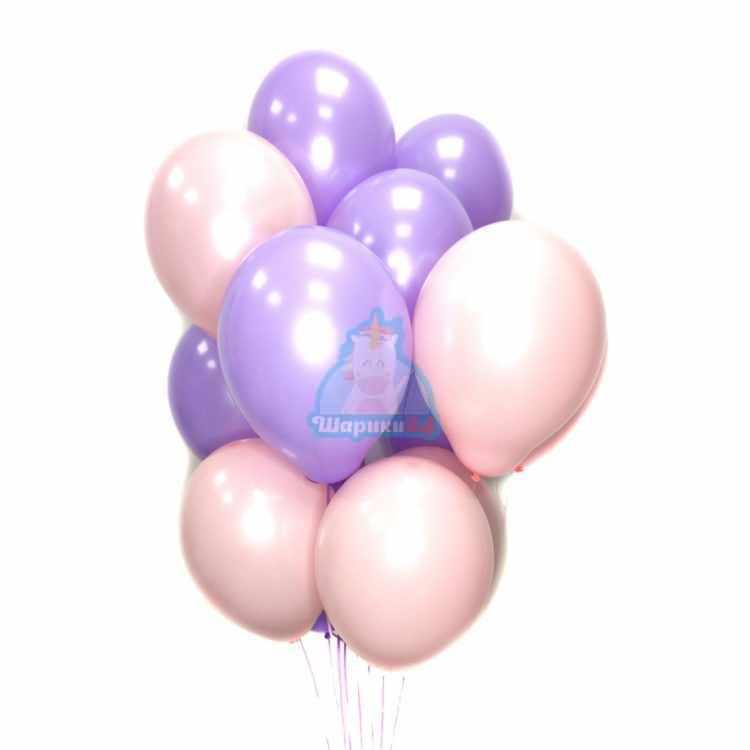 Воздушные розовые и фиолетовые шарики